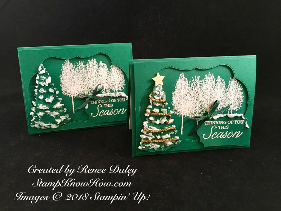 Two views of the Winter Woods Christmas Card