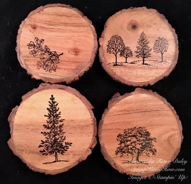 Lovely As A Tree Stamped Coaster Set