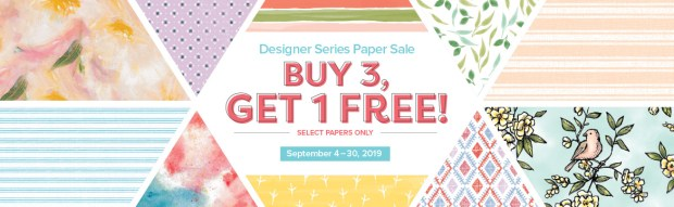 Stampin' Up B3G1 Free Designer Series paper sale starts Sept. 4th.  It ends Sept. 30th.  Stock up on all your favorites today.