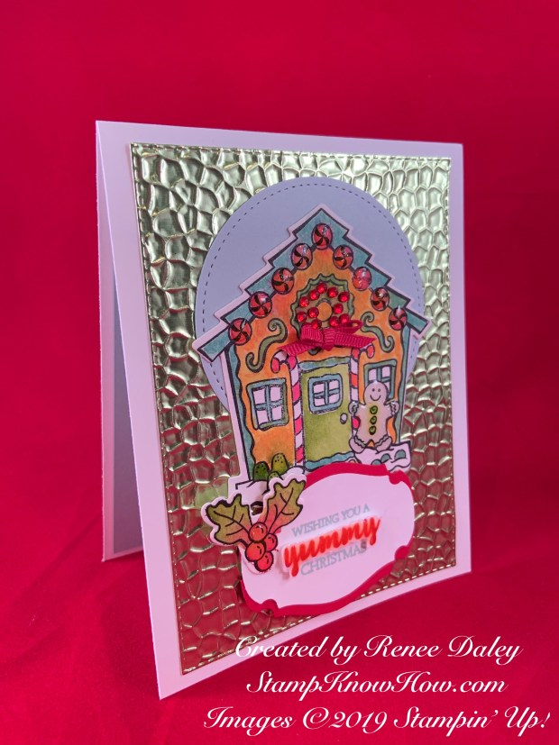 Watercolored Yummy Christmas Gingerbread house card created by Renee Daley for the SUOC #231 Challenge