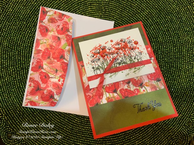 Peaceful Poppies Suite Thank You Card using Stampin' Up products