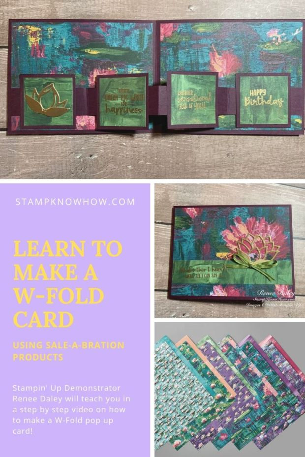 Learn to make a W-Fold card with video tutorial by StampKnowHow.com