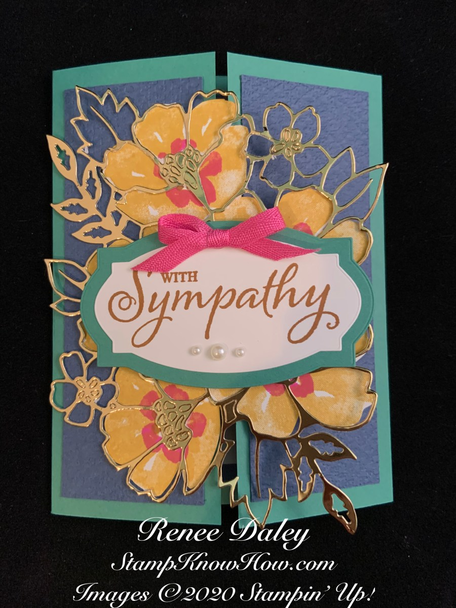 Sympathy gate fold card featuring Stampin Up Blossoms in Bloom Bundle