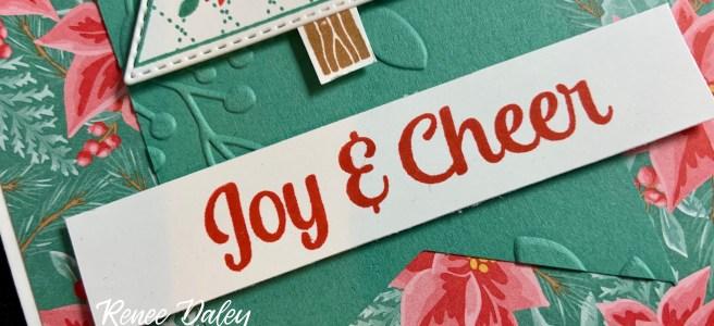 Close up image of the Tree Angle Poinsettia Christmas Card