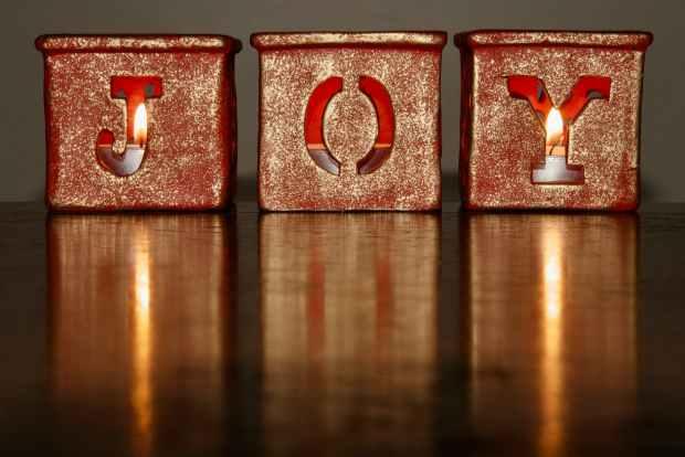 brown joy candle holder