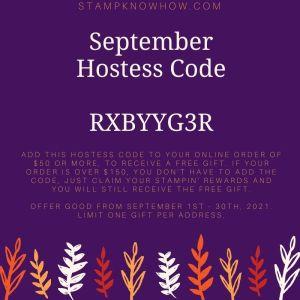 September 2021 Hostess Code for StampKnowHow.com