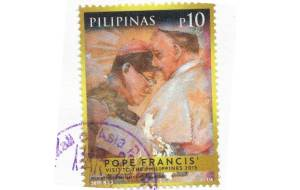 stamp commemorating Pope Francis's 2015 visit to the Philippines