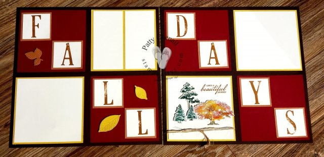 Using a regal palette and the Rooted In Nature stamp set, I created this awesome Fall layout.  Amazing what a few stamped images can do for your scrapbooking pages.