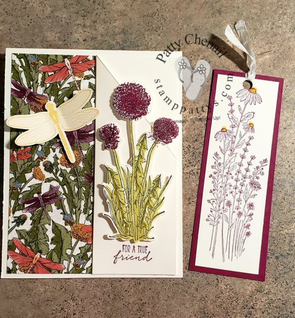 Using the Dandy Garden product suite from the Stampin' Up! January to June catalog, this incredible card with a bookmark built in was created!  Be sure to see all the details on my blog and the How To Video too!