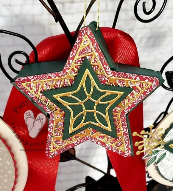 3-D star ornament created with the Tidings of Christmas bundle from the SU! Annual Catalog!  Be sure to check out my YouTube how to video!