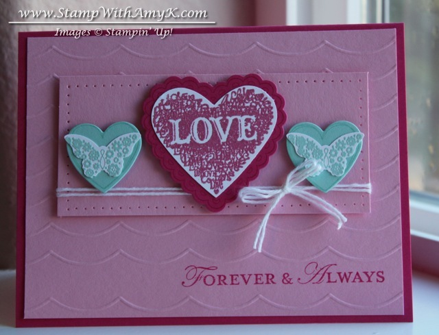 Love heart wedding anniversary card u plus candy u stamp