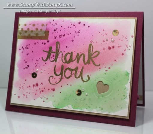 Watercolor Thank You - Stamp With Amy K