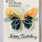 Beautiful day stamp set, butterfly created with Brusho Crystal Colour.