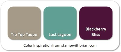 Stampin' Up! Color Inspiration: Tip Top Taupe, Lost Lagoon, Blackberry Bliss