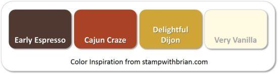 Stampin' Up! Color Inspiration: Early Espresso, Cajun Craze, Delightful Dijon, Very Vanilla