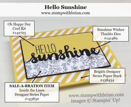 Sunshine Wishes Thinlits Dies, Oh Happy Day Card Kit, Inside the Lines Designer Series Paper, Stampin' Up!, Brian King