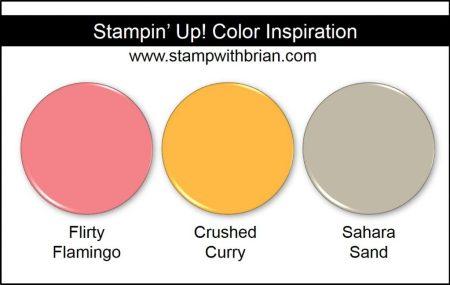 Stampin' Up! Color Inspiration: Flirty Flamingo, Crushed Curry, Sahara Sand
