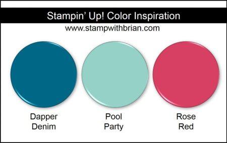 Stampin' Up! Color Inspiration: Dapper Denim, Pool Party, Rose Red