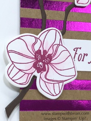 Use a Blender Pen to lightly pull color onto the petals of the orchid
