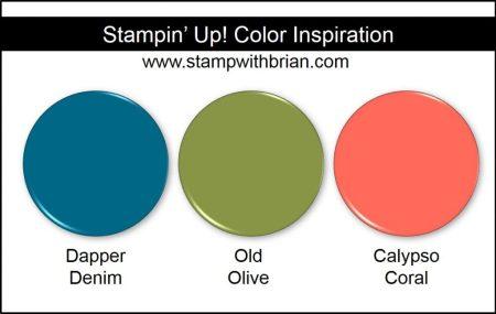 Stampin' Up! Color Inspiration: Dapper Denim, Old Olive, Calypso Coral