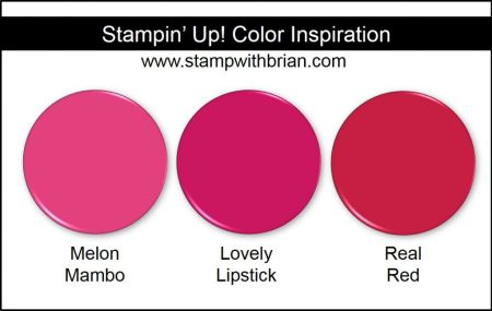 Lovely Lipstick Comparison, Stampin' Up! 2018-2020 In Color: Melon Mambo and Real Red
