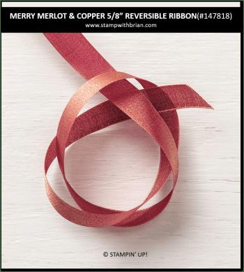 "Merry Merlot & Copper 5/8"" Reverisble Ribbon, Stampin' Up! 147818"