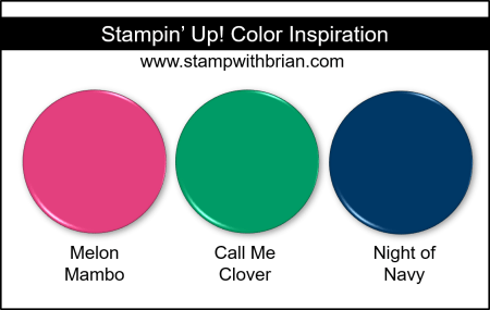 Stampin' Up! Color Inspiration - Melon Mambo, Call Me Clover, Night of Navy