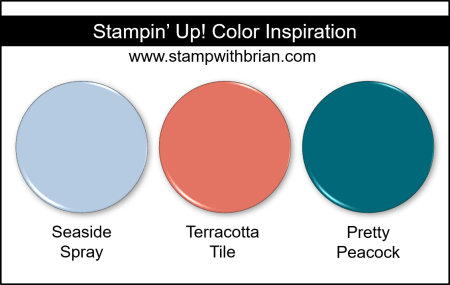 Stampin' Up! Color Inspiration - Seaside Spray, Terracotta Tile, Pretty Peacock