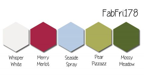 Stampin' Up! Color Inspiration - Whisper White, Merry Merlot, Seaside Spray, Pear Pizzazz, Mossy Meadow