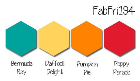 Stampin Up! color inspiration - Bermuda Bay, Daffodil Delight, Pumpkin Pie, Poppy Parade