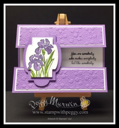 Inspiring Iris Stamp Set, Tufted Embossing Folder, Stitched Shapes Dies, Layering Ovals Dies, Stitched Nested Labels Die, Ornate Floral 3D Embossing Folder, Stitched So Sweetly Dies, Bingo, Card Class, Stamp with Peggy