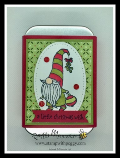 Gnome for the Holidays, Heartwarming Hugs Designer Paper, Rectangle Tins, Hershey Nuggets, 12 Days of Christmas, Treat Holder, Gift Card Holder, Stamp with Peggy