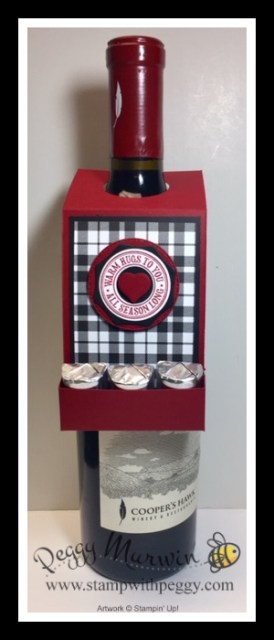 Warm Hugs Stamp Set, Warm Wraps Dies, Plaid Tidings Designer Paper, 12 Days of Christmas, Wine Tag, Stamp with Peggy