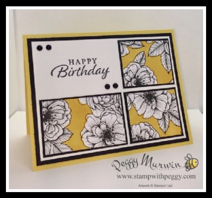 Happy Thoughts Stamp Set, True Love Designer Paper, Daffodil Delight Stampin' Blends, Matte Black Dots, Birthday, Stamp with Peggy