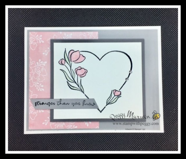 Strong of Heart Stamp Set, Hand-Penned Designer Paper, Strength, Heart Health, Stamp with Peggy