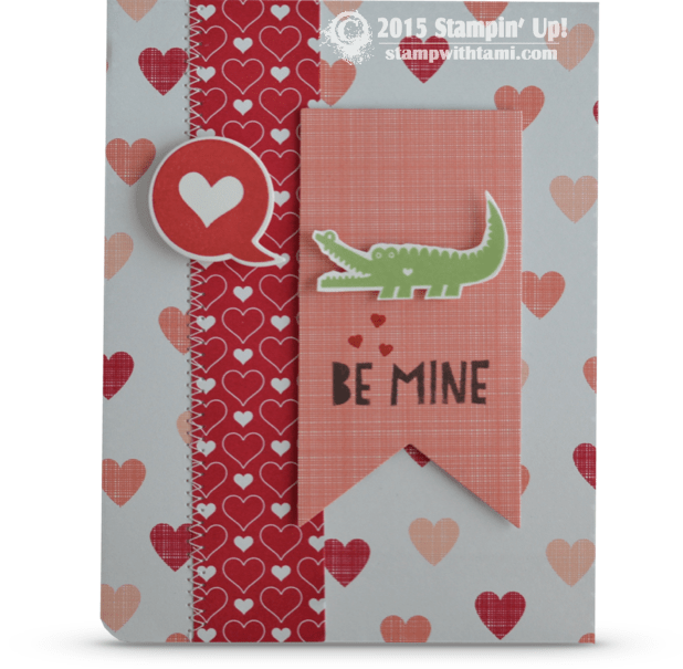 CARD Be Mine Valentine Alligator Cutie Stampin Up