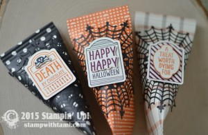 Stampin Up Holiday Catalog: Sweet Hauntings Stamp set, Happy Haunting DSP, Spider Web Doilies
