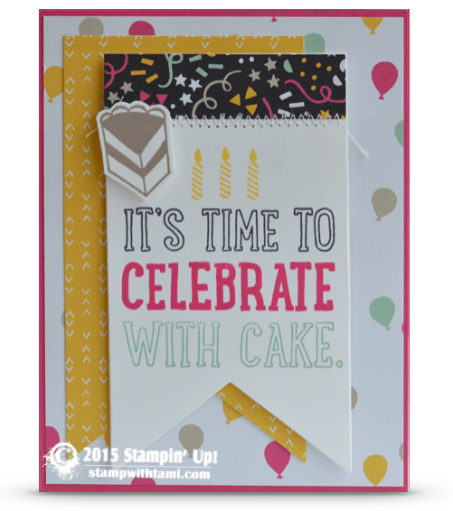 stampin up it's time to celebrate card party with cake stamp set