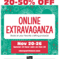 SALE: Online Extravaganza Sale – While Supplies Last or Nov 26