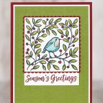 CARD: Seasons Greetings Card from the Feather's & Frost Stamp Set