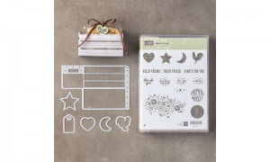 Wood words stamps and die set