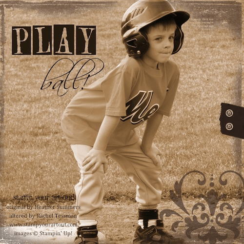 Baseball! Digital Scrapbook Page made using MDS from Stampin' Up!® found here - Stamp Your Art Out! www.stampyourartout.com