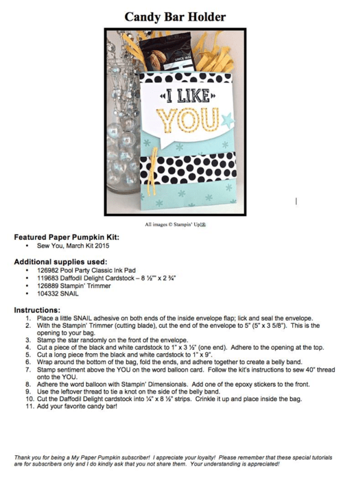 Sampling of what one of my Paper Pumpkin kit exclusive alternate project sheets look like (a project idea from the March 2015 Sew You kit). Subscribe today, and get 8-10 exclusive ideas each month!… #stampyourartout #stampinup - Stampin' Up!® - Stamp Your Art Out! www.stampyourartout.com