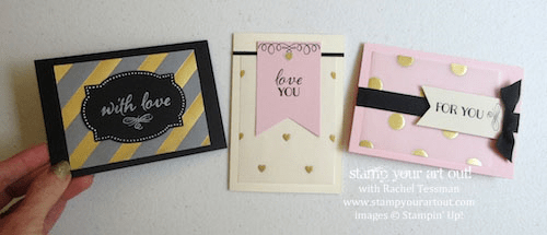 Note cards made with Gold Fancy Foil and the August 2015 Chalk It Up To Love Paper Pumpkin Kit… #stampyourartout #stampinup - Stamp Your Art Out! www.stampyourartout.com