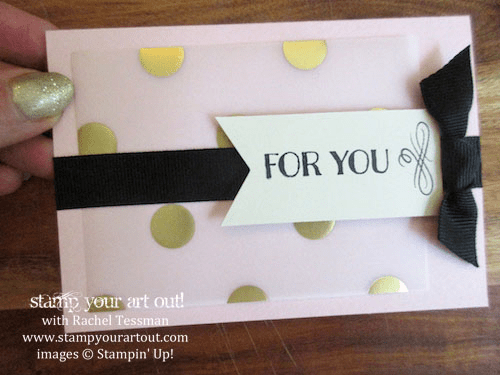 Note card made with Gold Fancy Foil and the August 2015 Chalk It Up To Love Paper Pumpkin Kit… #stampyourartout #stampinup - Stamp Your Art Out! www.stampyourartout.com