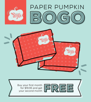 BOGO for First Time Paper Pumpkin Subscribers August 11 – October 10, 2016…#stampyourartout - Stampin' Up!® - Stamp Your Art Out! www.stampyourartout.com