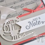 """Just a Note"" music-themed greeting cards created with Stampin' Up!'s Flourishing Phrases and Sheet Music stamp sets, Musical Instruments Framelits Dies, and the Gold, Silver and Champagne Foil papers...#stampyourartout - Stampin' Up!® - Stamp Your Art Out! www.stampyourartout.com"