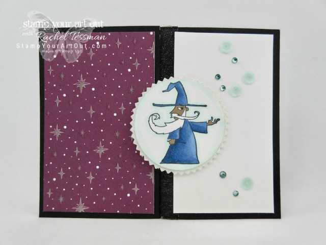 """Click here for supplies, measurements AND tips for how to make a Vertical Stretch Fun-Fold Card and this alternate """"horizontal stretch version"""" using the 2018 Occasions Catalog Myths & Magic designer paper, Magical Day stamp set, and Stampin' Blends alcohol-based markers....#stampyourartout #stampinup - Stampin' Up!® - Stamp Your Art Out! www.stampyourartout.com"""