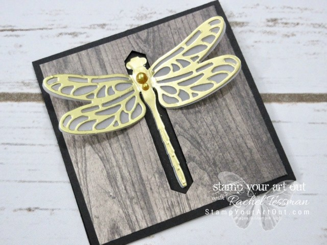 Click here for supplies, measurements AND to watch my quick video to see how to make an altered Mini Pizza Box for this fun dragonfly closure card. You can also click here to find a link for tips on making this dragonfly closure card using the Detailed Dragonfly Thinlits....#stampyourartout #stampinup - Stampin' Up!® - Stamp Your Art Out! www.stampyourartout.com