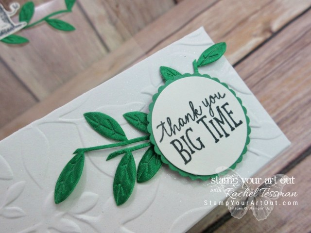 """Click here for more information & to watch my quick video to see how I made this adorable """"huge thanks rhinoceros treat box"""" from some of the new products that just debuted in the 2018-19 Annual Catalog: Animal Outing stamp set, Animal Friends thinlits dies, Lustrous White Mini Gable boxes, and Call Me Clover Leaf Ribbon…#stampyourartout #stampinup - Stampin' Up!® - Stamp Your Art Out! www.stampyourartout.com"""